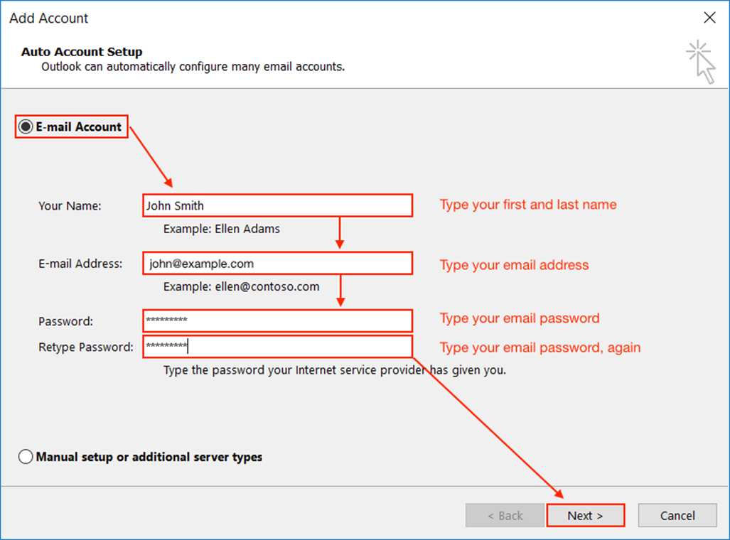 Easy setup only requiring email address and password